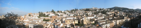 180 view from the house over ancient centre of Granada Spain